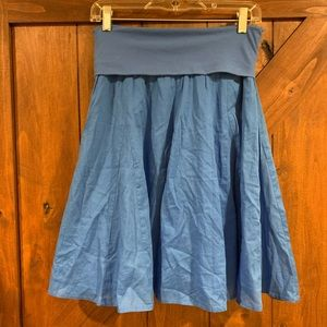 Blue fold over skirt
